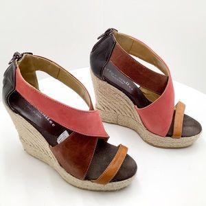 {Bettye Mueller} Leather Wedge Espadrille Sandals